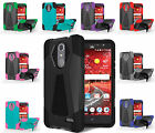 FOR ZTE PHONE MODELS RUGGED T-STAND CASE IMPACT RESISTANT HYBRID COVER+STYLUS