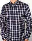 Aquascutum Emsworth Check Shirt in Navy Blue - long sleeve cotton  SALE