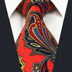 Men's Acceossories Necktie Printed Ties Red Paisley Q28 100%