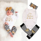 3PC Baby Newborn Girl Jumpsuit Clothes Little sister Tops Pants Hairband Outfits
