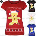Womens Ladies Round Neck Merry Xmas Christmas Cap Sleeve Gingerbread T Shirt Top