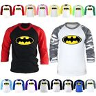 Mens DC Comics Superhero Batman 3/4 Sleeve Raglan Baseball Tshirts Jersey Top K7