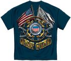 Blue T-Shirt with USCG Coast Guard Seal and Crossed Flags Design