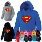 Mens Womens Superhero Superman Heavy Cotton Hooded Sweatshirts Hoody Hoodie 7A