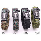 New Outdoor Paracord Bracelet Compass/Flint/Fire Starter/Whistle Gear 5 in1 Tool