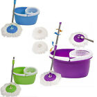 New Household Magic Mop 360°Rotate Mop Bucket w/ 2 Microfiber Heads 3 Colors