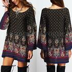 Vintage Women Loose Bell Sleeve Floral Print Ethnic Evening Party Mini Dress Top