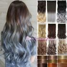 100% Thick 18-30 Inch 3/4 Full Head Clip In Hair Extensions Ombre Brown Grey 7nt