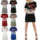 Womens Ladies Batwing Sleeve Naughty or Nice I Have Both Outfit Long Dress Top