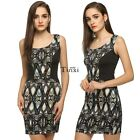 Women O Neck Sleeveless Printed Satin Fabric Dress TXWD