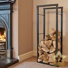 Firewood Log Rack Store Large Small Metal Shelf Stand Tall Steel Black 8 Sizes