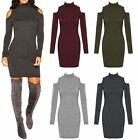 Womens Cut Out Cold Hollow Shoulder High Turtle Neck Knitted Dress Top Jumper