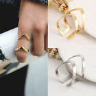 Women's Urban Rings Above Knuckle stacking Band Midi Double V Ring 2 Pcs