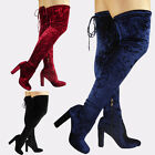New Womens Ladies Over The Knee Thigh High Boots Velvet Lace Up Block Heel Size