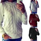 Winter Women Warm Chunky Knitted Sweater Long Sleeve Casual Pullover Tops Jumper