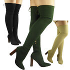 WOMENS LADIES THIGH HIGH BOOTS KNIT STRETCH OVER THE KNEE BROWN BLOCK HEELS SIZE