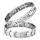 Men's Stainless Steel Cross Row Link Chain Bracelet Black Cuff Bangle Wristband