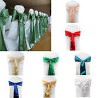 Set of 50pcs Satin Chair Cover Sash Bow Ties Multicolor Wedding Party Decoration