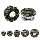 Punk Vintage Bronze Steel Lotus Flower Ear Gauges Tunnel Plug Expander Stretcher