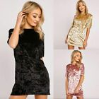 Fashion Women Crushed Velvet Casual Tops T Shirt Loose Long Top Blouse Dress