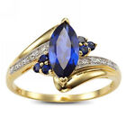 Women New Fashion Engagement Wedding Ring Blue Sapphire Gold Filled Size 6-9