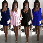 Fashion Women\'s Long Sleeve Casual Party Evening Cocktail Party Short Mini Dress