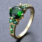 Green Emerald Wedding Band Ring 10KT Yellow Gold Filled Valentines Gift Size6-10