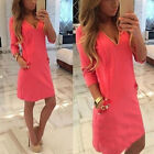 Fashion Women Winter Casual V neck Long Sleeve Party Club Loose Mini Dress Tops