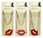 *FASHION JEWELRY Costume NECKLACE Long Chain LIPS Valentines Day *YOU CHOOSE*