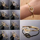 Womens 18K Gold Filled Stainless Steel Crystal Cuff Bracelet Bangle Jewellery