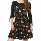 Banned Haunted Halloween Retro Pattern Mesh Black Gothic Party Dress