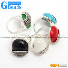 20mm Button Stone Beads Vintage Tibetan Silver Marcasite Fashion Jewelry Ring