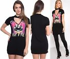 Womens Rock N Roll Choker V Neck Top Casual Long T-Shirt Slogan Plunge Tee Dress