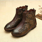 DESIGNER VINTAGE HANDMADE LEATHER FLORAL ANKLE BOOTS FLAT HEEL SHOES COWGIRL