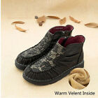 DESIGNER VINTAGE HANDMADE LEATHER FLOWER ANKLE BOOTS WINTER FLAT HEEL SHOES