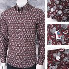 Get Up SLIM FIT Button Down Pocket Tag L/S Paisley Print Style Shirt