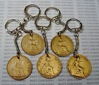 BIRTHDAY LUCKY KEY RING CHOOSE YEAR 1902 to 1967 GENUINE OLD COPPER PENNY