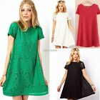 Women's Short Sleeve Cocktail Party Dress Lace Dresses Beach BOHO Swing Floral