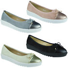 New Womens Ladies Faux Suede Slip On Flat Bow Ballerina Pumps Wedge Shoes Size