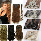 US 8 Piece Full Head Clip in Thick Human Hair Extensions Wavy Straight Thick SN8