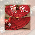Primitive Red Burlap Ruffled Tree Skirt By VHC Brands
