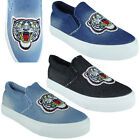 Womens Flat Trainers Ladies Denim Funky Patch Slip On Sneakers Pumps Shoes Size