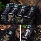 Survival Bracelet Outdoor Paracord Flint Fire Starter Scraper Whistle Compass DZ