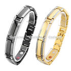 4 in 1 Polish Steel Magnetic Energy Germanium Mens Therapy Power Health Bracelet