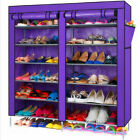 7-Tier 2 Rows Doors Purple Shoe Cabinet Rack Shoes Stand Storage Organizer UK