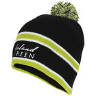 ISLAND GREEN WARM LINED KNIT BEANIE HAT BLACK WITH NAVY/GREEN OR GREY TRIM NEW
