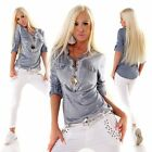 5 People S Tunika Sweatshirt Fischerhemd  Pulli Pullover Metallic Look 2 Farben