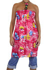 ICE (3973-1) Ladies Hawaiian Floral Tunic Dress Top Beaded Pink One Size  8-16