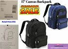 "Canvas BACKPACK 17"" School Supplies Book Bag, Rucksack, Shoulder Bag NEW"