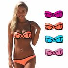 Design Damen Fashion Push Up Neckholder Bikini Set Cup Träger Strand S/36